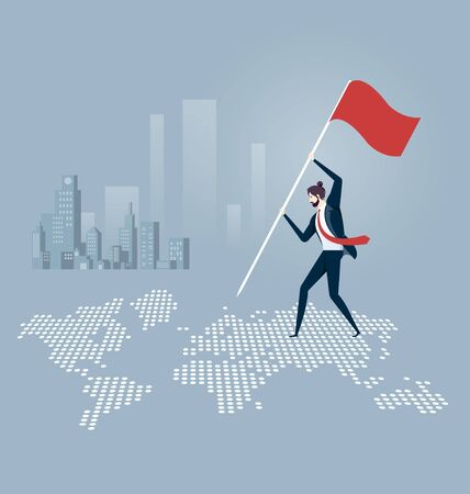 Businessman putting a flag and standing on top of a world map. Business concept vector