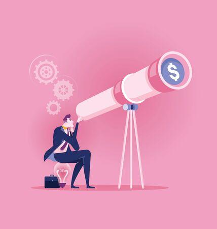 Businesswoman looking through a telecope dollar