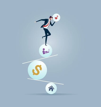 Businessman trying to balance on ball and seesaw. Business Perfection concept