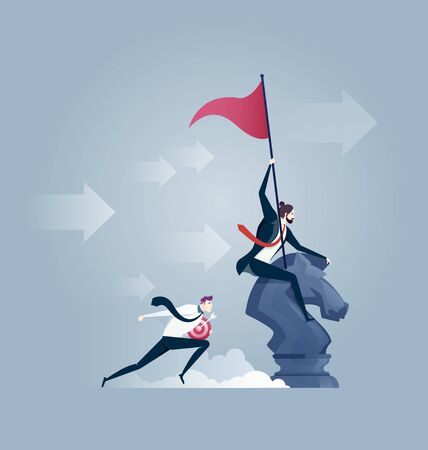 businessman riding a chess horse with flag in hand. Business fighting, strategy, competition, Leadership, concept.