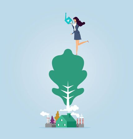 Businesswoman protection and preservation of the environment 일러스트