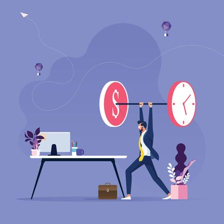 Businessman lifting time and money weights-Time is money concept Stock Illustratie
