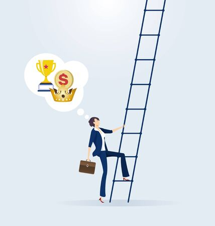 Businesswoman climbs up ladder. Concept of career Ilustração