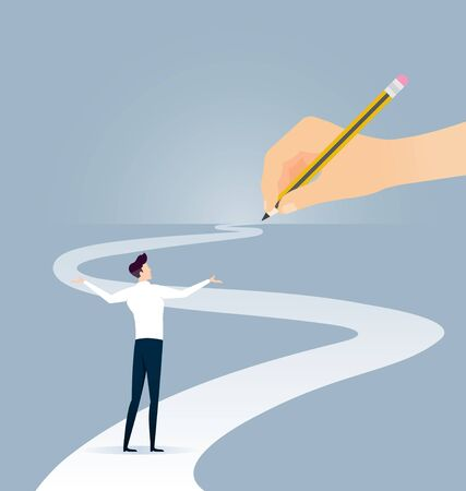 Hand holding pencil. Concept of the path to business success at choose your own.