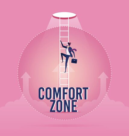 Businessman trying to break out of his comfort zone to success - Business concept vector Ilustración de vector