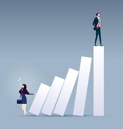 Career ladder. Businesswoman pushing bar chart with other man on top Illusztráció