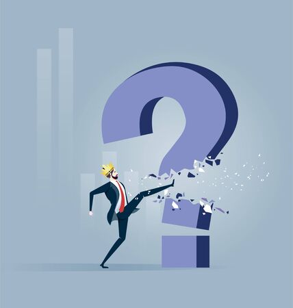 Businessman Throw light bulb to smash question mark sign. Concept achievement vector illustration Illustration
