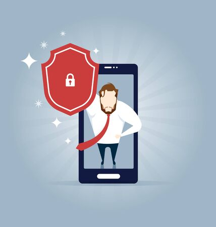 Businessman standing on a smart phone (mobile phone) and looking upward and holding a shield