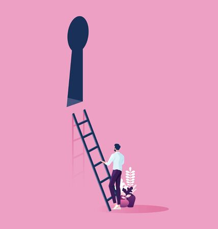 Businessman with Keyhole and stairs. Success Concep