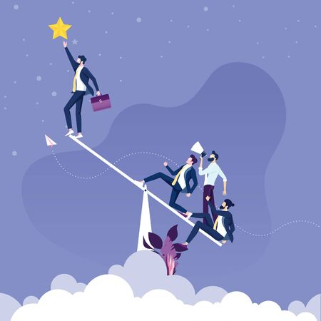 Businessman uses a seesaw to get a stars. Teamwork concept
