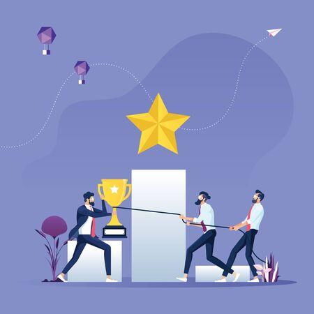 Businessmen fighting for a trophy-Business Competition concept Illusztráció