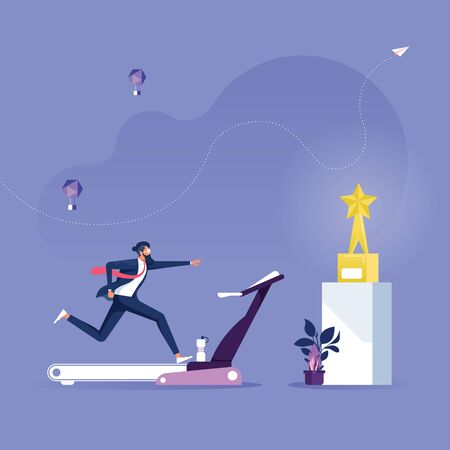Businessman running on the treadmill trying to achieve success trophy-Business Effort Concept