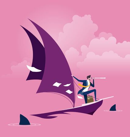 Businessman on a sailing boat with sharks around. Risk and challenge concept Vecteurs