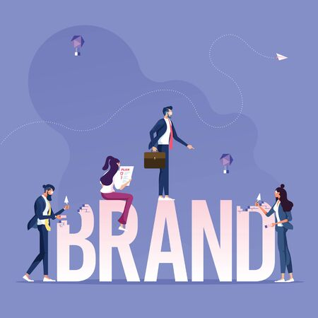 Group of business working for building text Brand-Brand building concept Vektorgrafik