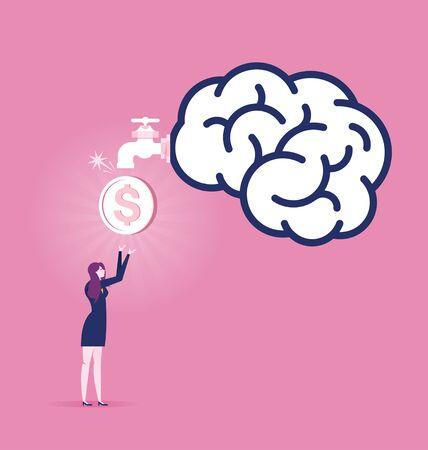 Businesswoman Making money - Business concept vector