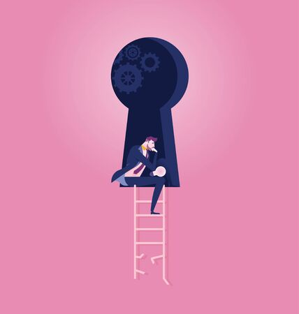 Businessman meditating the way to success - Illustration
