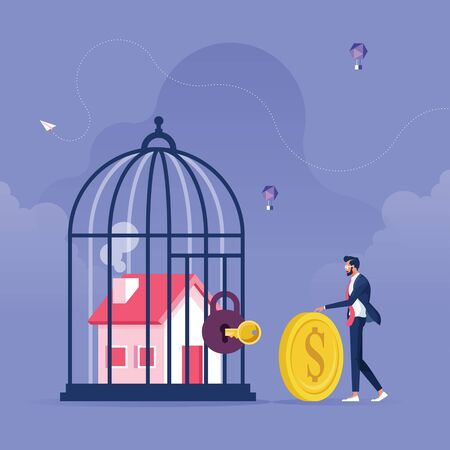 House inside the cage with Locked-Business and financial problems concept, Businessman pay money to unlock house from cage