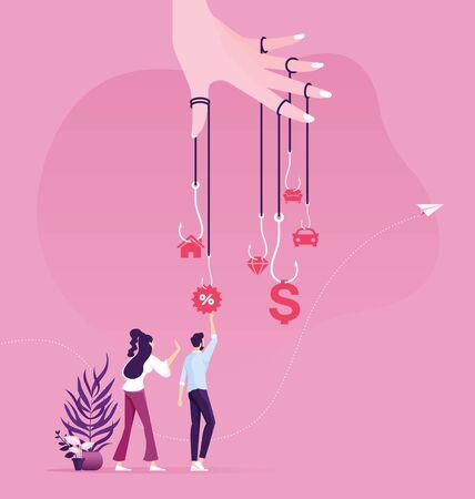 Businessman try to pick money from hook trap. Money as trap business concept Vektorové ilustrace