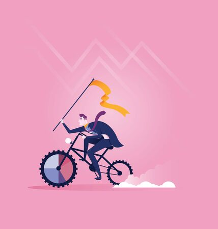 Businessman riding the bike to target. Concept business vector illustration