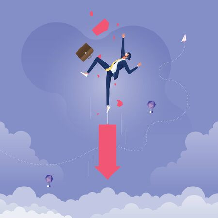 Businessman pulling down by arrow, metaphor to failure-Business and finance concept