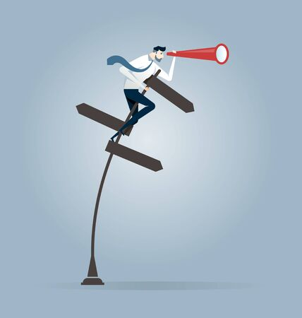 Businessman holding telescope on a crossroad sign - Business Vision concept vector Illustration