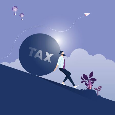 Businessman carrying and making effort to push up big stone with TAX message-Business concept vector
