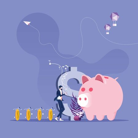 Businessman as a charmer of rats conjure money to piggy bank-Save money concept