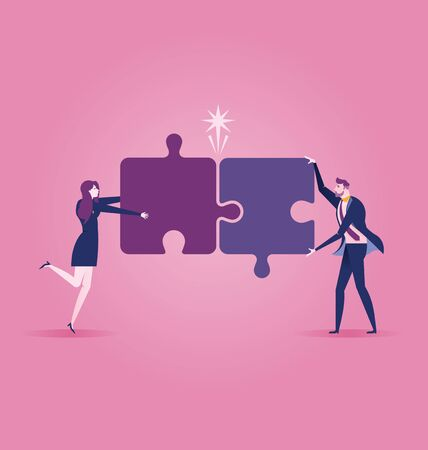 Business team assembling jigsaw puzzle - Business concept vector