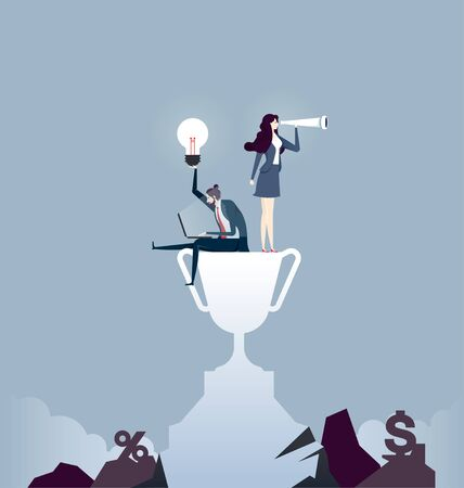 Business team standing on top mountain. Concept business vector illustration