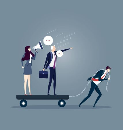 Businessman dragging his bossy coworkers alone. Business concept vector