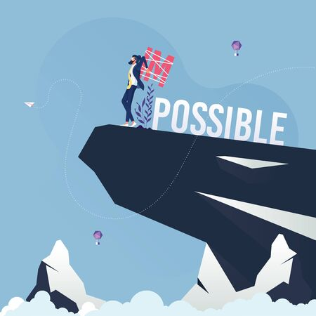 Businessman change word impossible to possible-Business challenge concept