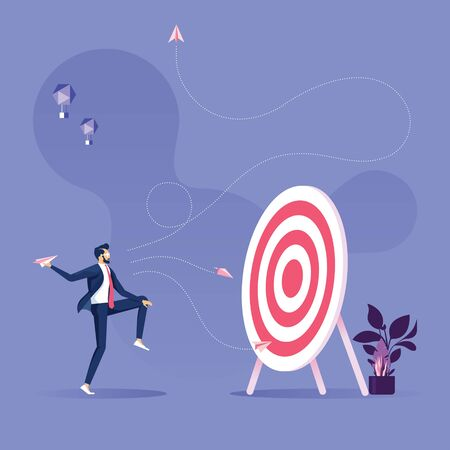 Business objective and strategy vector concept-Businessman throwing paper plane to target
