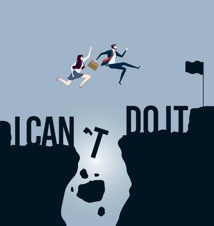 Business team jumping over cliff. Business success concept Ilustración de vector