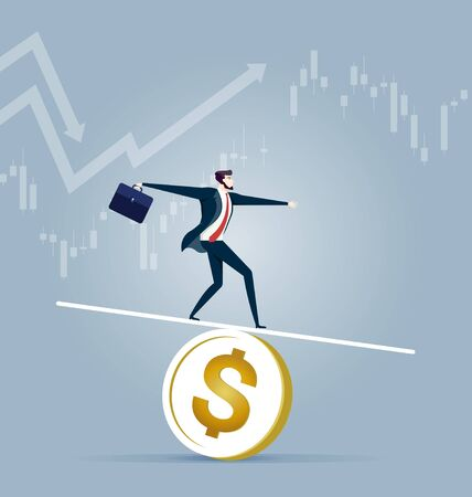 Businessman balancing on a coin - Business concept vector Illusztráció