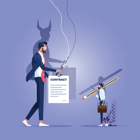 Businessman handling a contract to customer, his shadow showing a satan