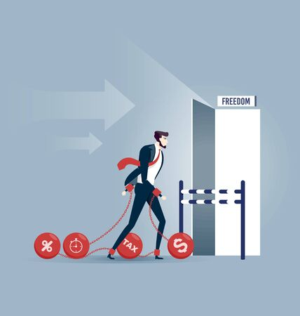 Businessman dragging chains and big ball,debt chained - Finance Crisis Concept Illustration