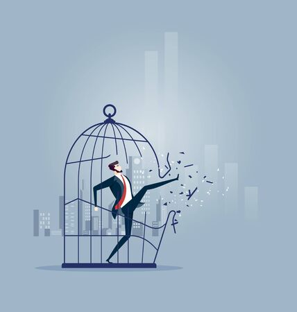 Businessman breaking out the large birdcage - Business concept vector