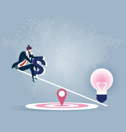 Businessman and scales. Light bulb idea and Businessman with money on balance scales color icon. Vector business concept.