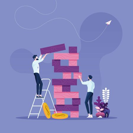 Business risk concept-Two businessmen playing the tower game