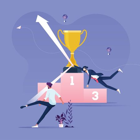 Businessman protect trophy from arrow -Business ranking concept vector