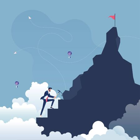 Businessman making steps to goal on the top of mountain-Make an effort concept