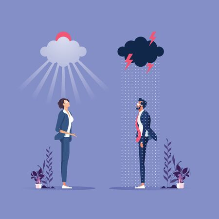 Two Business people in good mood and bad mood-Business concept vector; Happy and unhappy emotion characters Vektorgrafik