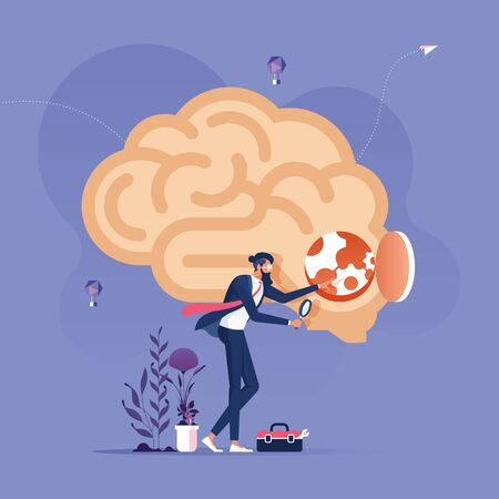 Idea Research Concept-Businessman with magnifying glass looking inside a brain Illustration