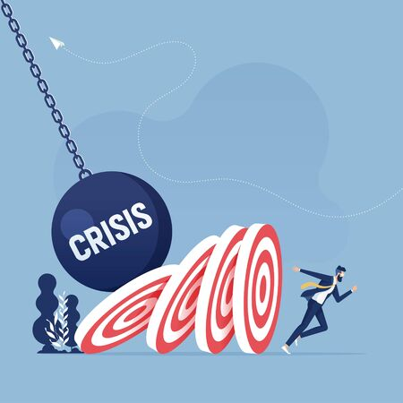 Businessman escaping from falling target, domino effect-Business crisis concept