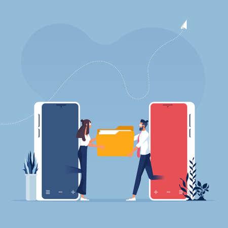Businessman use mobile phone to sharing or transferring file Illusztráció