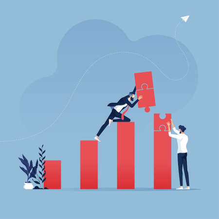 Teamwork build target sales with jigsaw puzzle-Business concept illustration. Business work concept illustration about hard work sales profit.