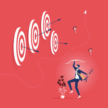 Successful businessman hit many target with bow and arrow-Business success concept