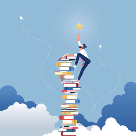 Businessman reach out for the stars by using books as the platform-Describe reach successful in business