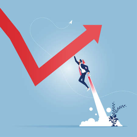 Leader change the graph direction. Concept business achievement vector illustration. Growth, challenge