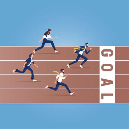 Business race. Businessmen running down track. Competition concept. Winning strategy. Vector illustration flat design. Running people. Direction to victory.